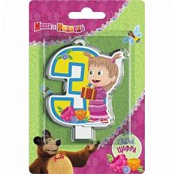 Свеча цифра 3 Маша и медведь