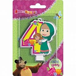 Свеча цифра 4 Маша и медведь