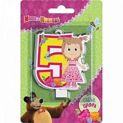 Свеча цифра 5 Маша и медведь