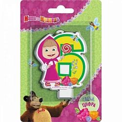 Свеча цифра 6 Маша и медведь