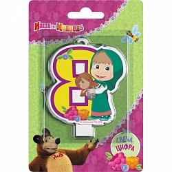 Свеча цифра 8 Маша и медведь