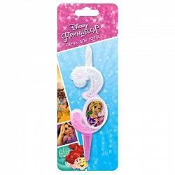 Свеча цифра 3 с принцессами Диснея
