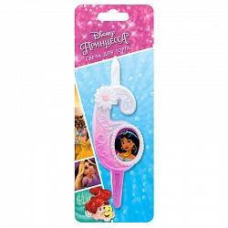 Свеча цифра 6 с принцессами Диснея