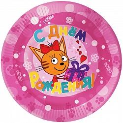 Тарелки (9''_23 см) Три Кота, Розовый, 6 шт.