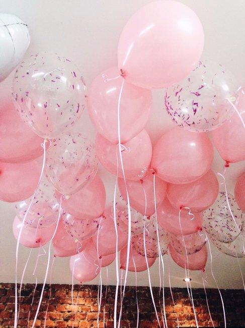 Шары под потолок «Розовое конфетти»