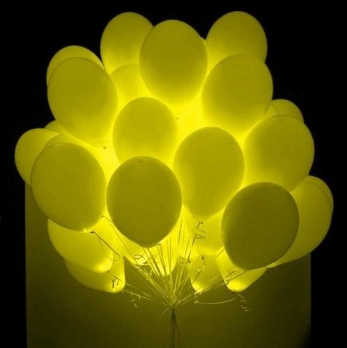 Гелиевые светящиеся шары желтые 1шт