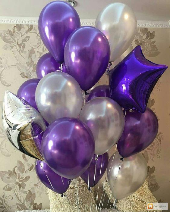 Облако «Фиолетовое и белое» из шаров
