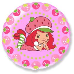 Воздушный шар Круг, Клубничка и ягоды, Розовый
