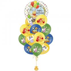 Букет «Поющие Винни» из 21 воздушных шаров и 1 поющего шара