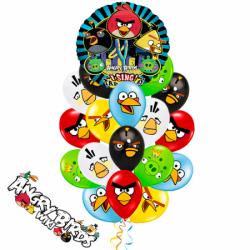 Букет «Музыкальные птички»  из 20 воздушных шаров и 1 поющего большого шара