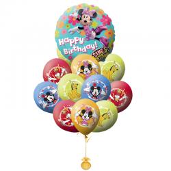 Букет на День рождения «Поздравление от Минни и его друзей» из 21 шаров