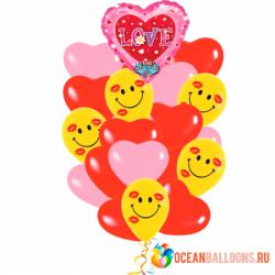 Букет «Музыкальное -любовное признание» из 20 шаров и 1 поющего шара