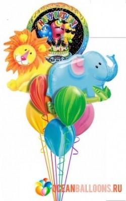 Букет «Поющие зверюшки» из 22 воздушных шаров и 1 поющего шара