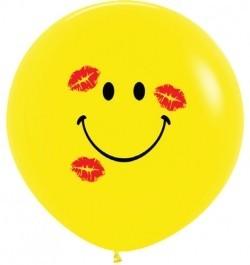 Воздушный шар Смайл в поцелуях  91 см.