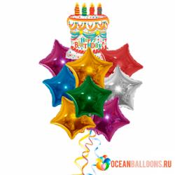 Букет на день рождения из фольгированных воздушных шаров «Торт и Звезды»