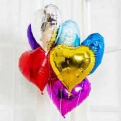 Букет из фольгированных шаров «Разноцветные сердца»