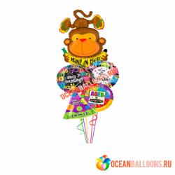 Букет из фольгированных шариков «Веселая обезьянка»