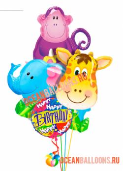 Букет из фольгированных шариков «Поздравление от зверюшек 2»
