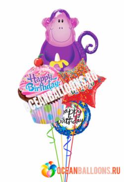 Букет из фольгированных шаров «Поздравление от веселой обезьянки»