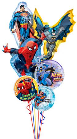Букет из шариков из фольги «Поздравление от Супер-Героев»