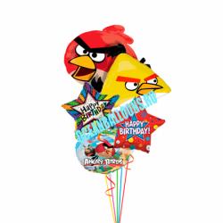 Букет из шариков «Поздравление от Angry Birds»