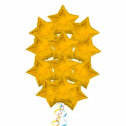 Сияющие звезды букет с 15 шариками из фольги на выпускной