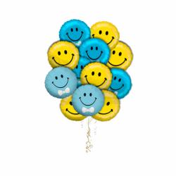 """Букет """"Великолепие смайлов-2"""" из 9 воздушных шаров"""