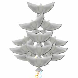 Букет каскад голубей из 11 фольгированных шаров