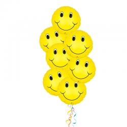 Великолепный каскад смайлов букет из 8 шаров из фольги