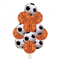Букет спортивный подарок из 11 фольгированных шаров