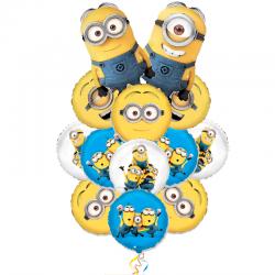 Букет из 10 воздушных шаров Миньоны-3