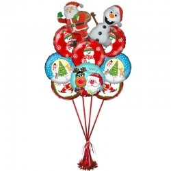 Букет «Дед мороз с Снеговиком» из 7 воздушных шаров  и 2 фигур