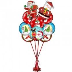 Букет на Новый Год из 6 воздушных шаров и 2 фигур Деда Мороза