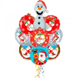 Букет на Новый год «Шустрый Олаф Снеговик» из 8 шаров и 1 фигуры
