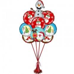 Букет «Шустрый Снеговик Олаф» из 8 шаров  и 1 фигуры