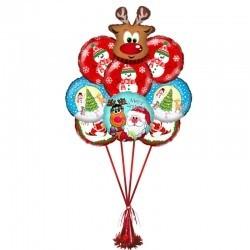 Букет на Новый год «Новогодний Олененок» из 7 шариков  и 1 фигуры