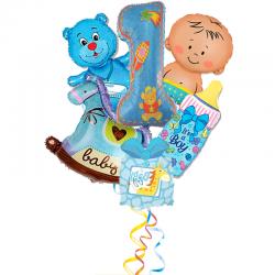 Композиция  первый День Рождения из 6 фольгированных фигур для мальчика