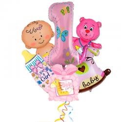 Композиция первый День Рождени из 6 фольгированных фигур для девочки