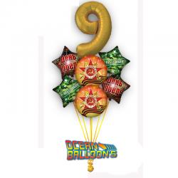 Композиция  из 7 фольгированных  шаров на День Победы.