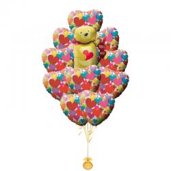 «Признание Мишки» композиция из 11 фольгированный шаров