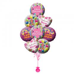 Букет « С днем рождения Мамочка » из 11 фольгированных шаров