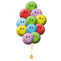 Букет «Радужные Смайлики» из 10 фольгированных шаров