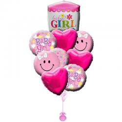 Композиция  «Бейби Гирл» из 10 шаров на Рождения малыша
