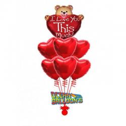 «Признание Мишки» из 8 фольгированных сердец и одной фигуры