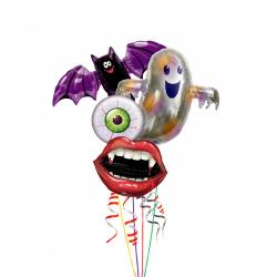Композиция «Клык Вампира» из 4 фольгированнынх шаров