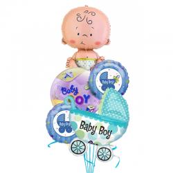 «Малыш с коляской» из 5 фольгированных шаров на Рождения малыша