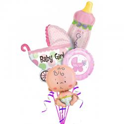 «Малышка с коляской и бутылкой» из 4 фольгированных шаров