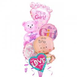 «Малышка» из 6 фольгированных шаров на Рождения девочки