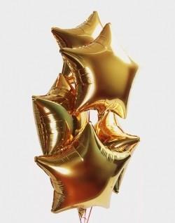 Фольгированные шары звезды золотые