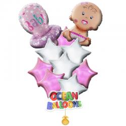 Композиция из воздушных шаров «Малышка с соской»